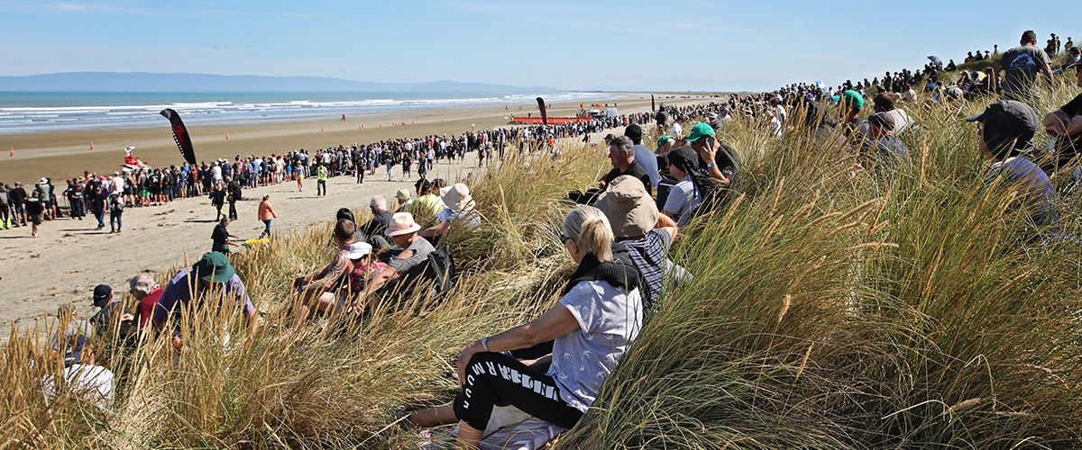 Spectators enjoying the races in the summer sun!